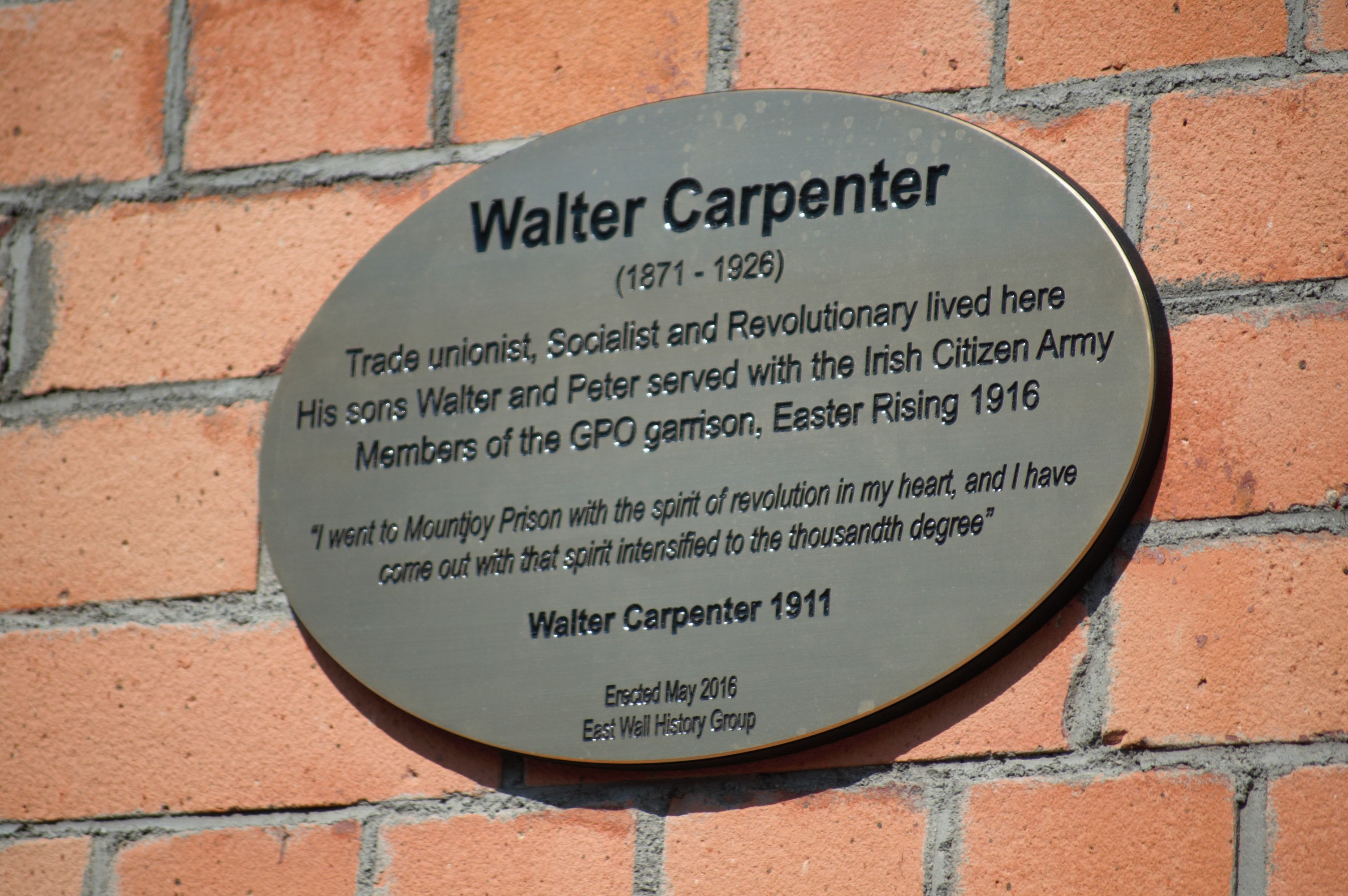 Plaque on family home
