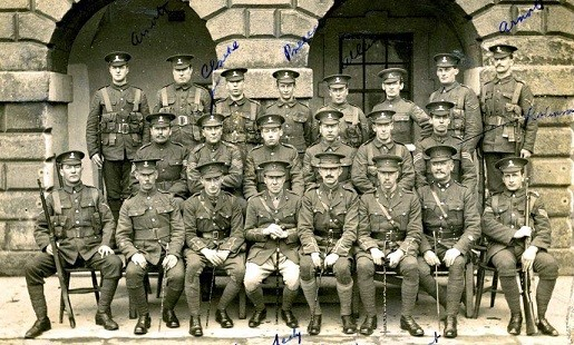 10th Royal Dublin Fusiliers. Lieutenant Charles Grant 3rd from Right, front row.
