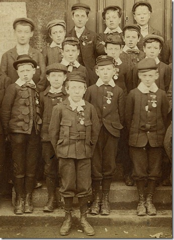 Wharf School confirmation, 1898. Boy in front row on right of picture listed as W.Halpin