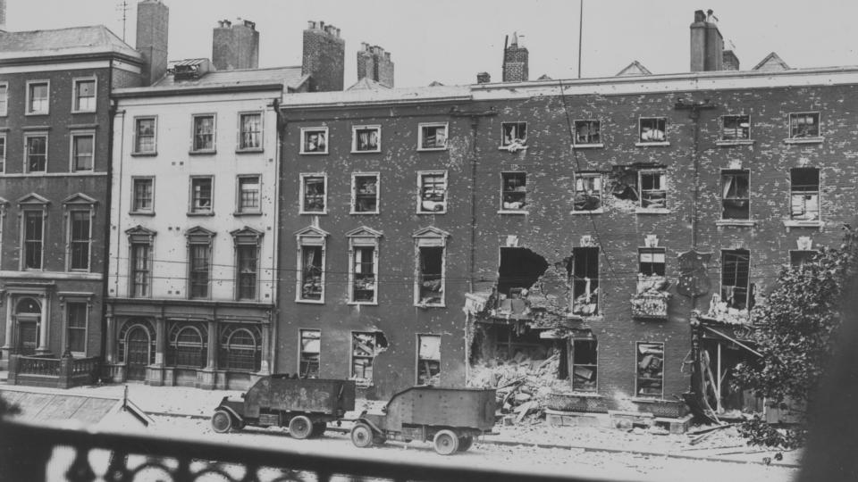 O'Connell Street damage at outbreak of Civil War