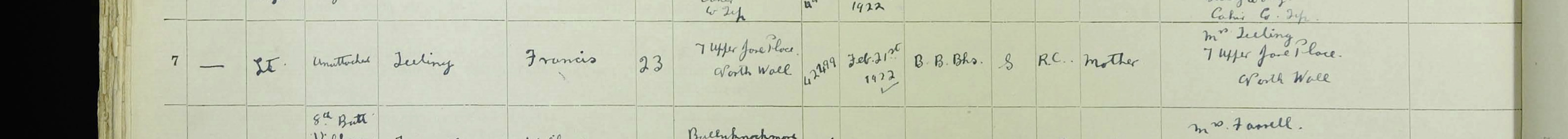 November 12th 1922 - Frank listed as resident at convalescent home resident . (He joined National Army in February 1922)