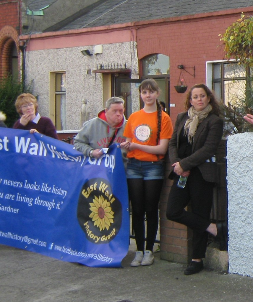 Spreading the message, at former home of Sean O'Casey , with actress Neili Conroy.