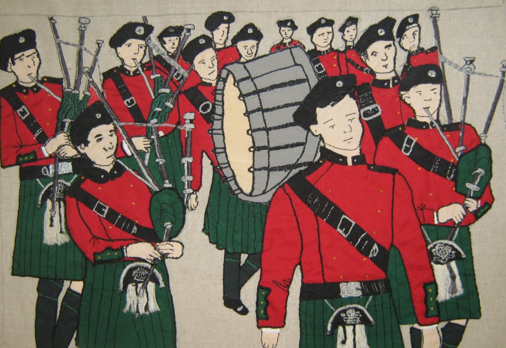 The Fintan Lalor pipe band as seen on 1913 Lockout Tapestry panel by local women.