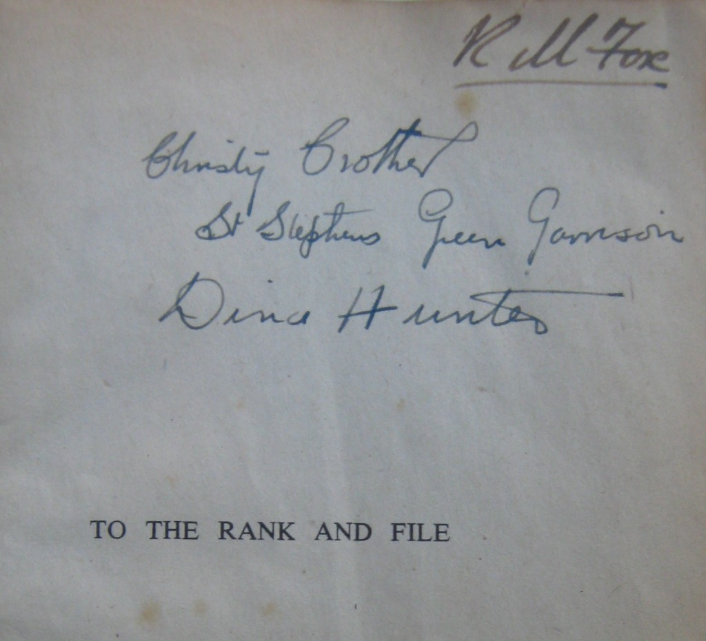 "Dedication from RM Fox to Christy and Dina on original edition of ""The History of the Irish Citizen Army"" (1943)."