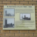 Plaque marking site of St Barnabas Church