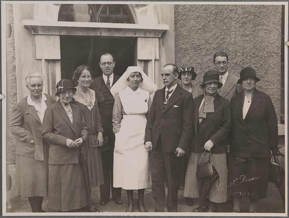 Kathleen Lynn (third from left) with St Ultan's Hospital  staff and Lord Mayor Alfie Byrne