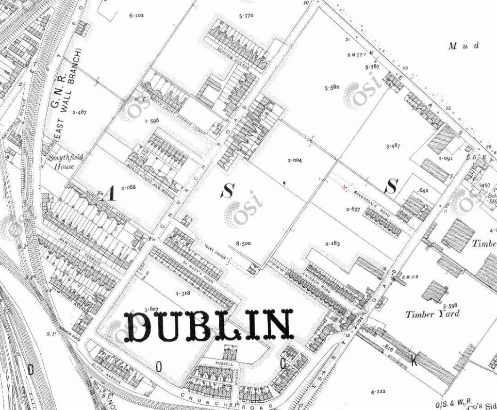 Malachi Place can be seen at lower left on 1850's map