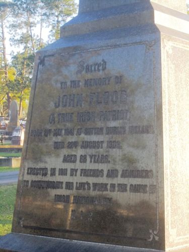 Inscription on John Flood monument (Photo: John Huth)
