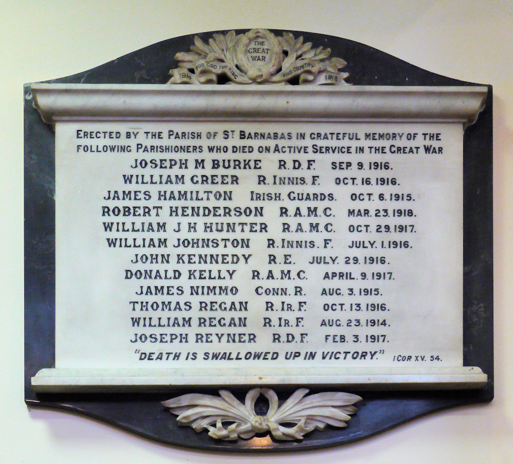 St Barnabas Parish , Great War memorial