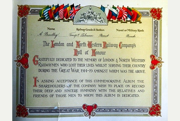 Dedication page from LNWR memorial book.