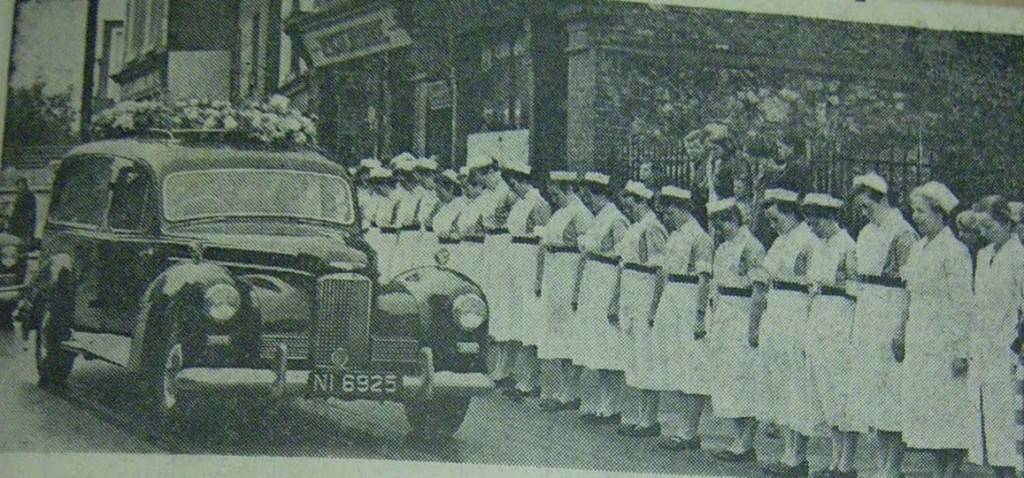 The funeral cortege of Kathleen Lynn passes St Ultans , September 1955.