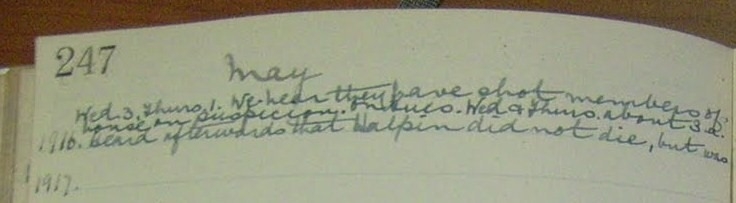 Diary entry by Lynn , May 3rd 1916 . Notes that Willie Halpin is alive !