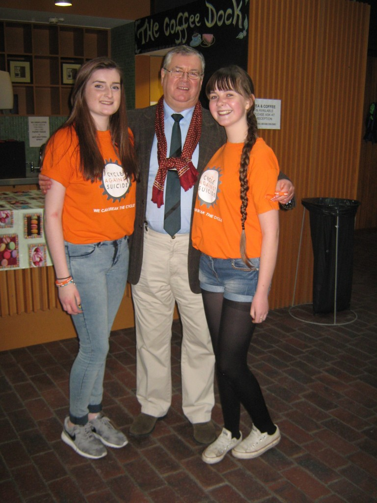 Alice Dunne and Rebecca McDonagh spreading the message , with Joe Duffy , in 2014