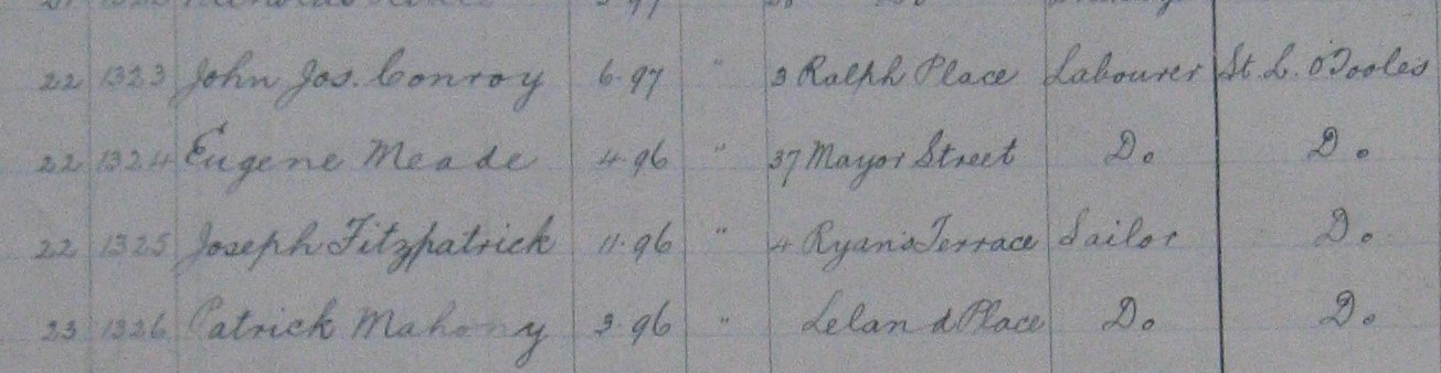 School register entry , Wharf School .