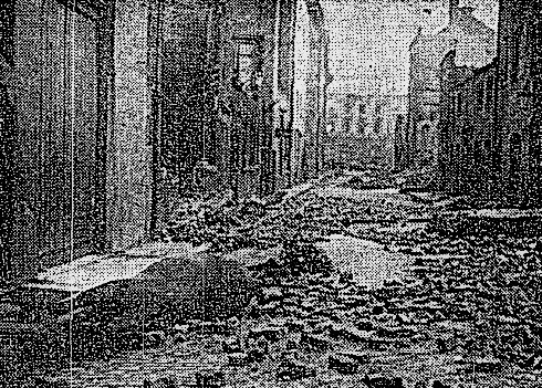 Battle damaged - Moore Lane after fierce gun-fire