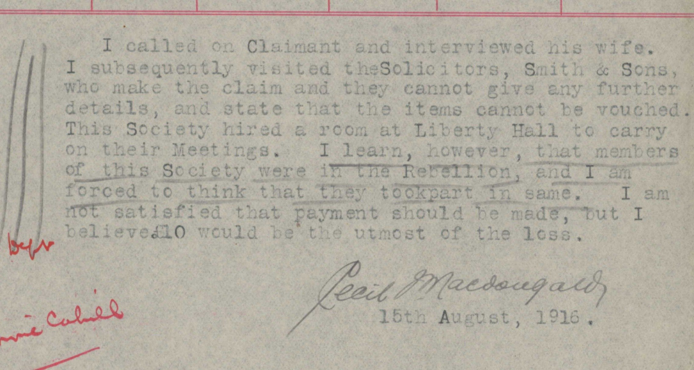 Rejection of compensation claim (Image courtesy: National Archives)