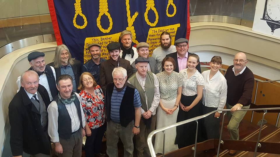 Playwright John Kearns with cast & crew at Liberty Hall