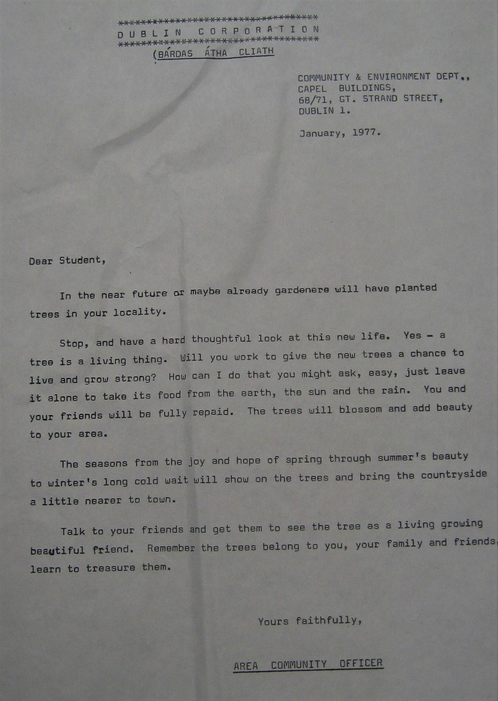 Dublin Corporation letter to schools in 1977