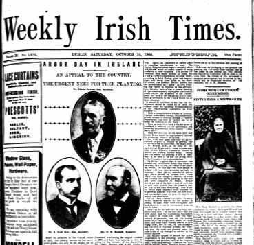Cover of Weekly Irish Times announcing Arbor Day 1908