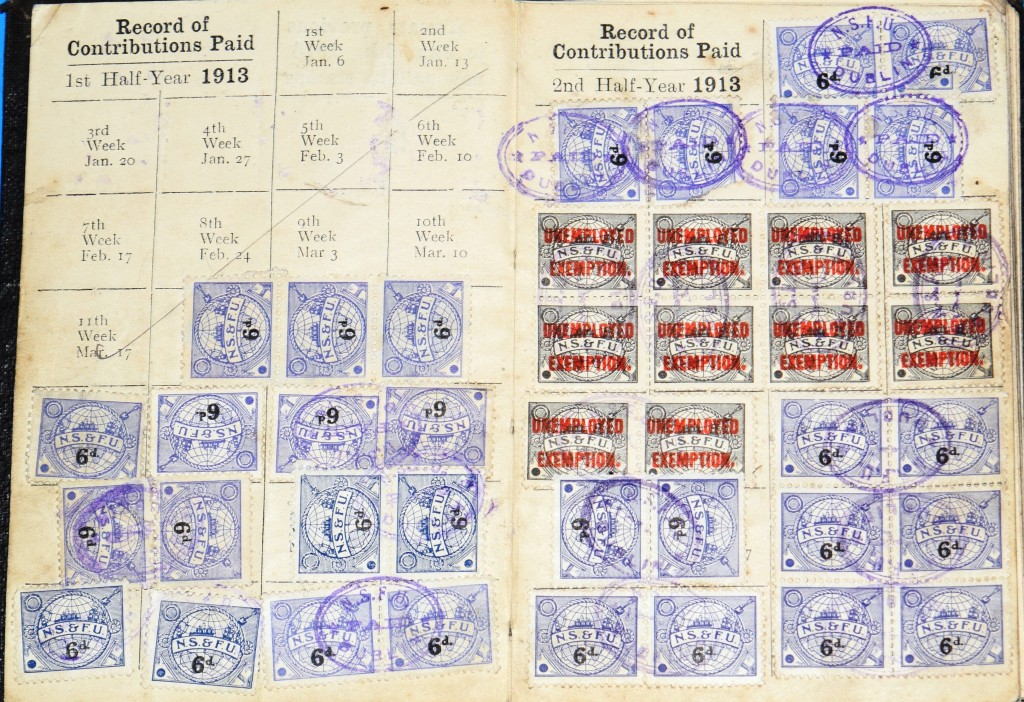 Christopher Wolfe Union stamps 1913 . Note 'Unemployed Exemptions' during the Lockout months.
