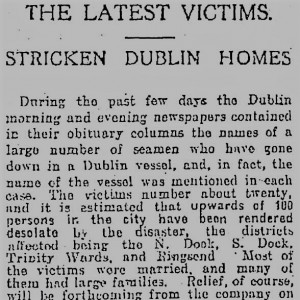Newspaper report on sinking of SS Adela