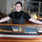 Guinness archivist Eibhlin Roche , with model of SS WM Barkley