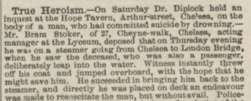 An 1882 newspaper report of Stoker's heroism.