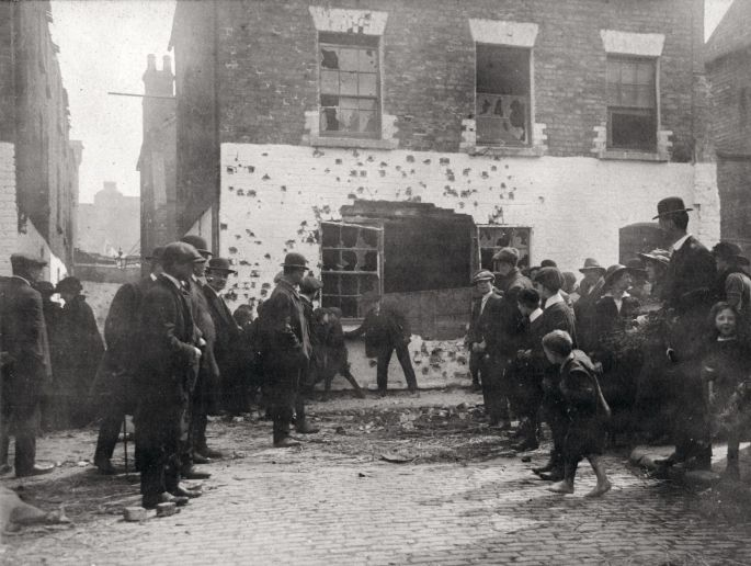 Battle scarred : Part of the retreat route from the GPO to Moore Street
