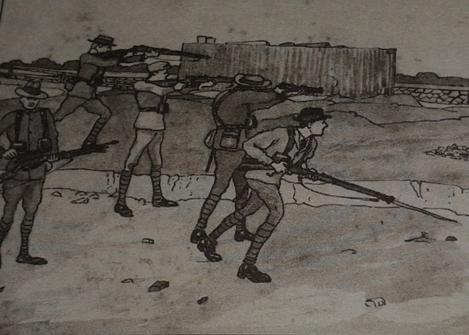 Shootout on the Wharf Road , as sketched by Irish Volunteer who took part