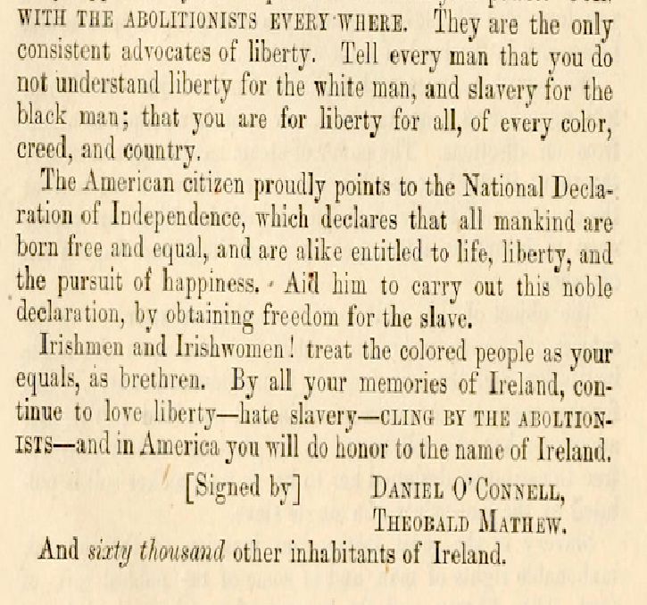 Irish support for the abolition of transatlantic slavery