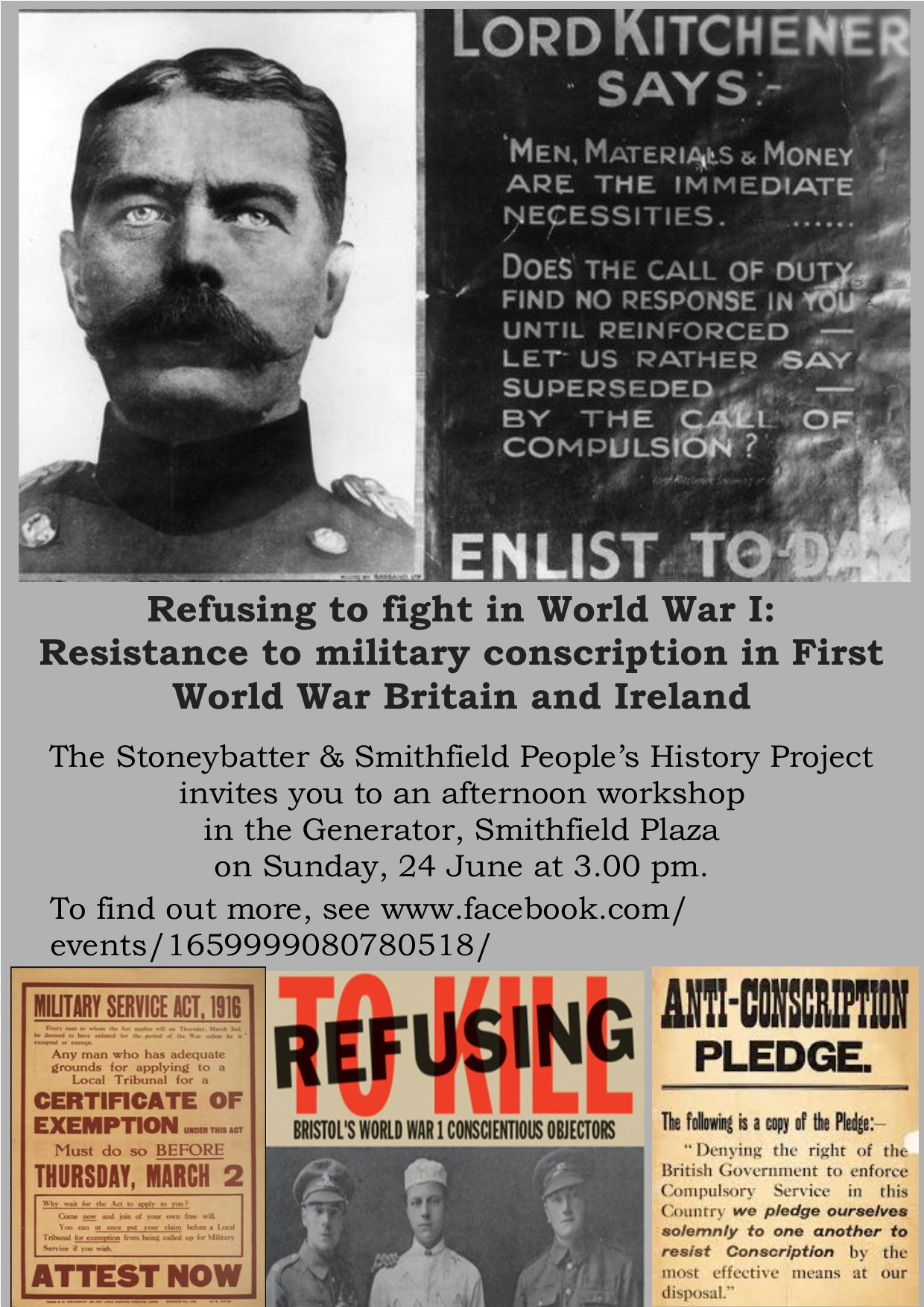 Poster for Conscientious Objectors talk