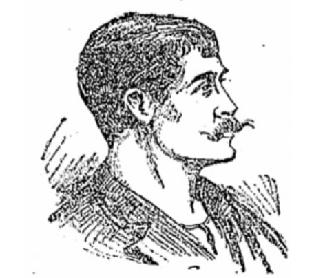 An artist's impression of Thomas Grant while on trial in 1908.