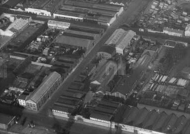 Aerial shot of Fish Street (Castleforbes Road) in the 1930's. McDonnell's pub is the white building on the bottom left