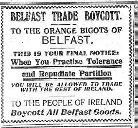 Belfast Boycott Advertisement from 1921.