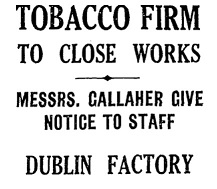 Press Headlines announcing the Closure of the East Wall Factory.