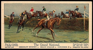 Cigarette Card showing Sergeant Murphy winning the 1923 Grand National.