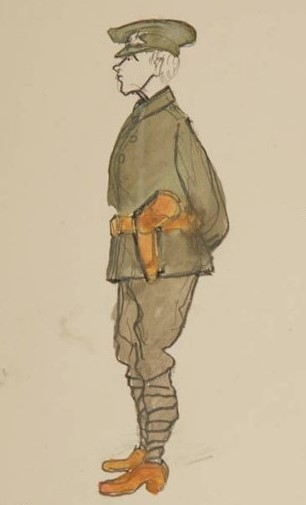 Watercolour of Irish Volunteer uniform by Sean O'Casey